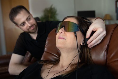 Woman using AVE neurofeedback at LifeWise